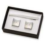 Personalized Polished Silver Square Cufflinks & Tie Clip Gift Set