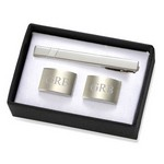 Personalized Brushed Silver Rectangular Cufflinks & Tie Clip Gift Set