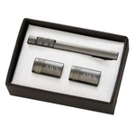 Personalized Gun Metal Grey Polished Cufflinks & Tie Clip Gift Set