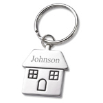 Personalized Silver Home Sweet Home House Shaped Key Chain