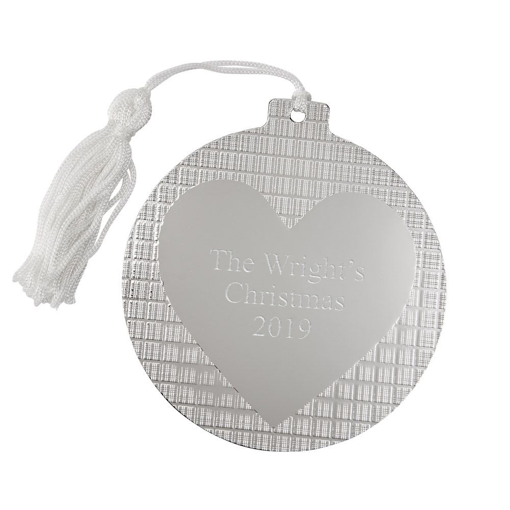 Personalized Silver Heart Center Ball Shape Christmas Tree ...