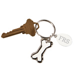 Personalized Silver Dog Bone Key Chain with Engraved Tag