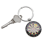 Personalized Silver Dart Board Key Chain