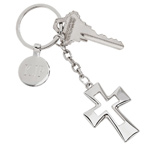 Personalized Silver Open Cross Key Chain with Engraved Tag
