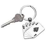 Personalized Silver Playing Cards Key Chain