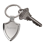 Personalized Brushed Silver Shield Key Chain
