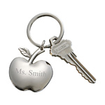 Personalized Silver Apple Shaped Key Chain