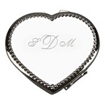Personalized Beaded Border Heart Compact Mirror