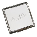 Personalized Beaded Border Square Compact Mirror