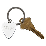 Personalized Silver Guitar Pick Shaped Key Chain