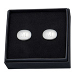 Personalized Silver Oval Cufflinks