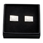 Personalized Silver Rectangular Cufflinks