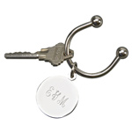 Personalized Silver Horseshoe Key Chain with Engraved Tag