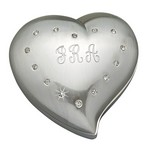 Personalized Free Form Heart Jewelry Box with Crystals