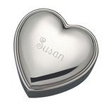 Personalized Shiny Silver Heart Shaped Jewelry Box