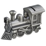 Personalized Pewter Finish Train Metal Bank