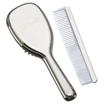 Personalized Silver Hair Brush and Comb Set For Baby & Children
