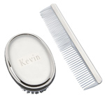 Personalized Silver Boys Hair Brush and Comb Set For Baby & Children