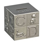 Personalized Polished Finish Alphabet Block Metal Bank