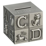 Personalized Pewter Finish Alphabet Block Metal Bank
