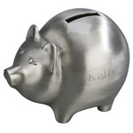 Personalized Large Pewter Finish Metal Piggy Bank