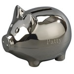 Personalized Small Polished Finish Metal Piggy Bank
