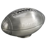 Personalized Pewter Finish Football Metal Bank