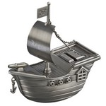 Personalized Pewter Finish Pirate Ship Metal Bank