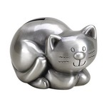 Personalized Pewter Finish Kitty Cat Metal Bank