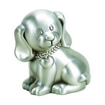 Personalized Pewter Finish Puppy Dog Metal Bank