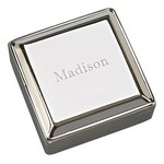 Personalized Small Square Polished Silver Jewelry Box