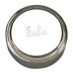 Personalized Polished Silver Round Jewelry Box