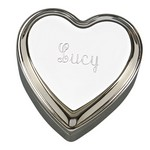 Personalized Polished Silver Heart Shaped Jewelry Box