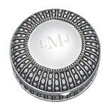 Personalized Large Round Antique Beaded Jewelry Box