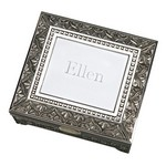 Personalized Large Antique Emblematic Style Square Jewelry Box