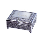 Personalized Medium Antique Emblematic Style Square Jewelry Box