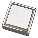 Personalized Large Square Polished Silver Jewelry Box