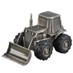 Personalized Pewter Finish Front Loader Truck Metal Bank