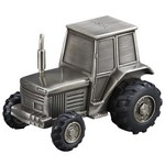 Personalized Pewter Finish Tractor Metal Bank