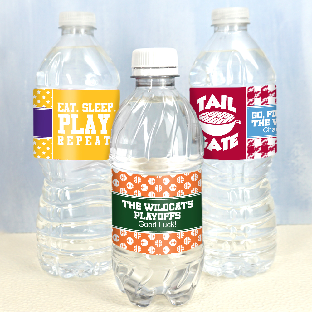 1f04ba6873 Personalized Water Bottle Labels - Sports Themed (Set of 5) - Famous ...