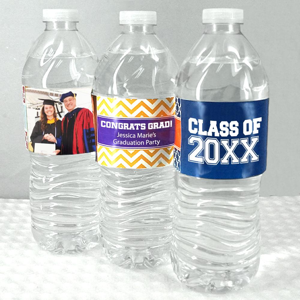 Personalized Sports Bottle Labels: Personalized Graduation Water Bottle Labels (Set Of 5