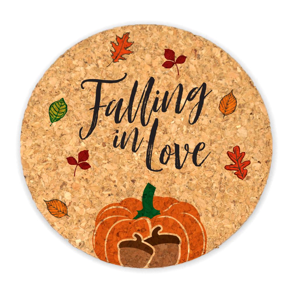 Wedding Cork Coaster: Falling In Love Round Cork Coaster Wedding Favors (Set Of