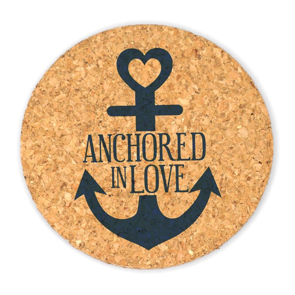 Wedding Cork Coaster: Anchored In Love Round Cork Coaster Wedding Favors (Set Of