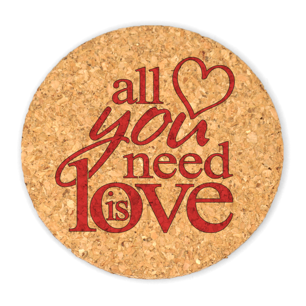 Wedding Favors Coaster.All You Need Is Love Round Cork Coaster Wedding Favors Set Of 4