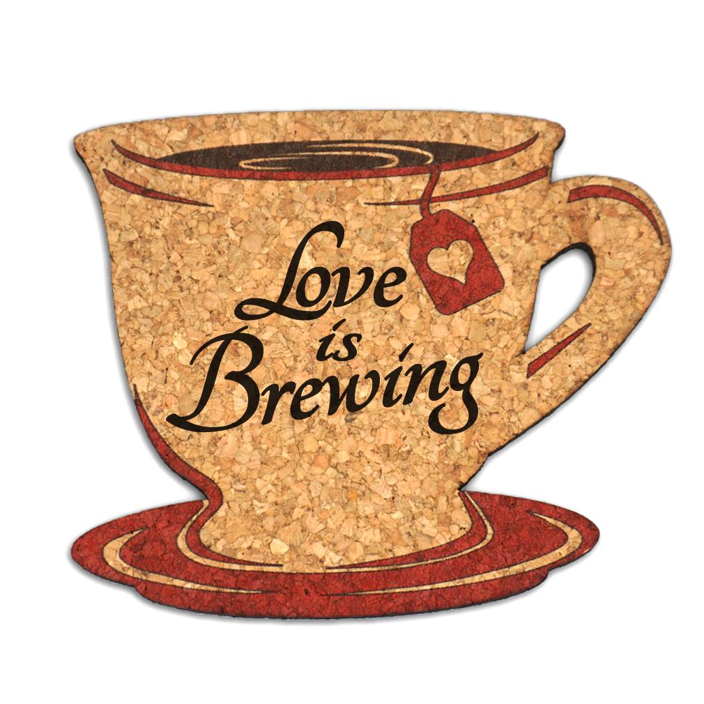 Wedding Cork Coaster: Love Is Brewing Tea Cup Cork Coaster Wedding Favors (Set