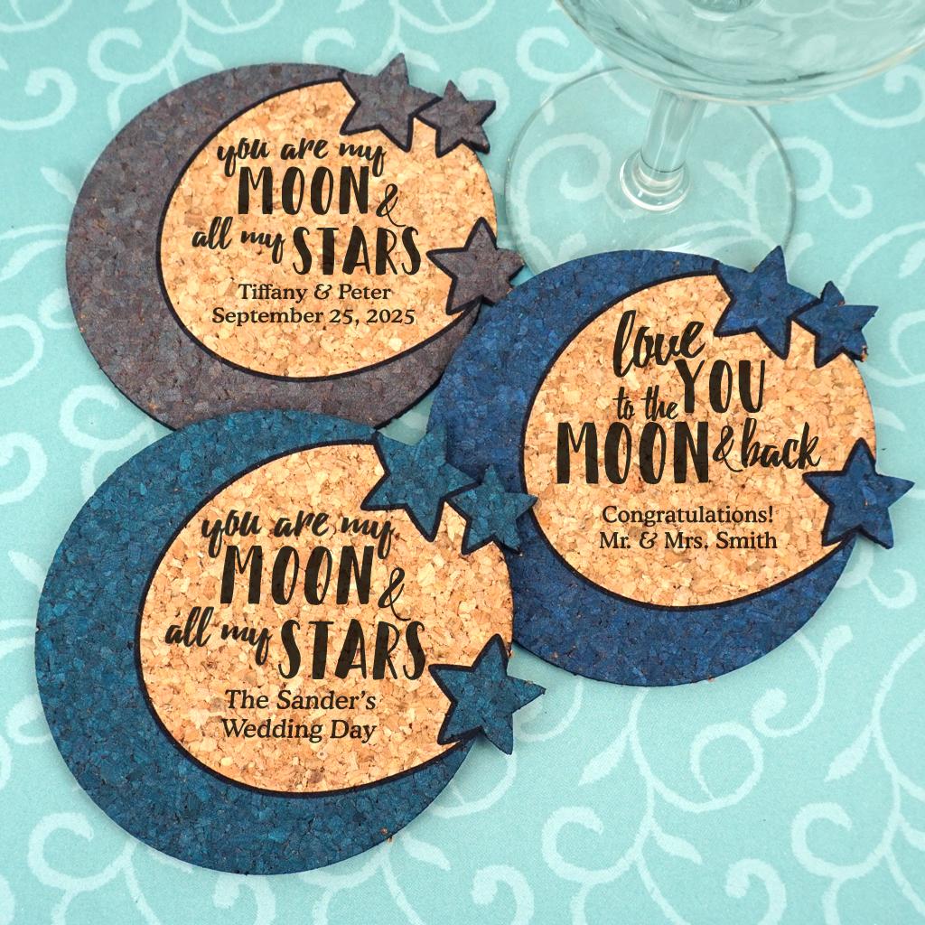 Wedding Cork Coaster: Personalized Wedding Moon & Stars Cork Coaster