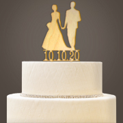 Personalized Wooden Bride & Groom Cake Topper