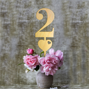 Wood Table Numbers with Heart (Set of 6)