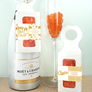 Personalized Metallic Foil Gummy Bear Bottle Hanger Box - Champagne Flavor