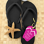 Wedding Flip Flops with Personalized Flip Flop Tag - Set of 6 (Black)